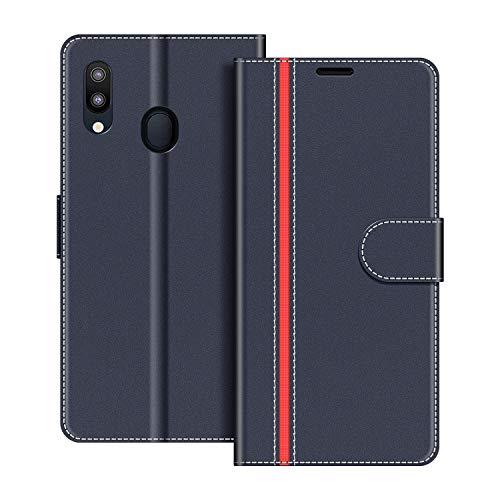 COODIO Handyhülle für Samsung Galaxy M20 Handy Hülle, Samsung Galaxy M20 Hülle Leder Handytasche für Samsung Galaxy M20 Klapphülle Tasche, Dunkel Blau/Rot