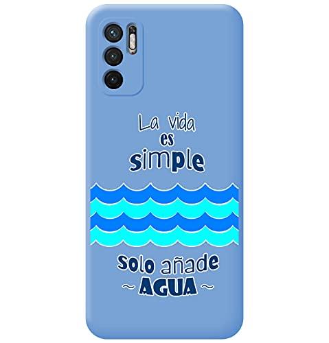 Funda Silicona Líquida Azul para Xiaomi Redmi Note 10 5G / Poco M3 Pro 5G diseño Agua Dibujos