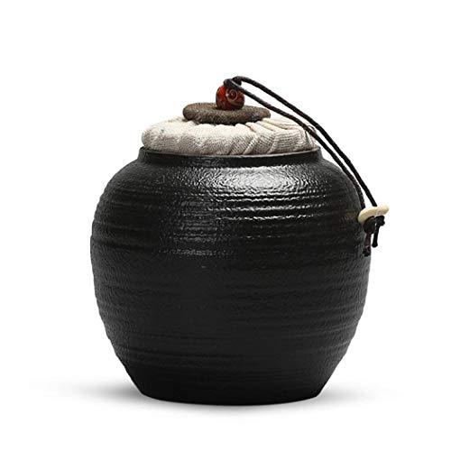 Keramische thee Canister thee Caddies thee blikjes containers thee koffie suiker voedsel opslag Eén maat Zwart