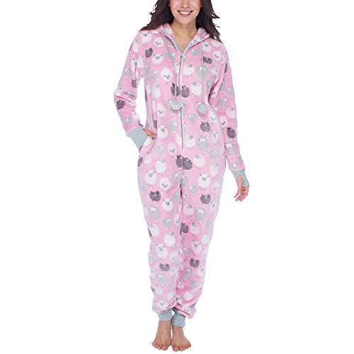 munki munki Ladies' Onesie (XS, Pink/Black Sheep)
