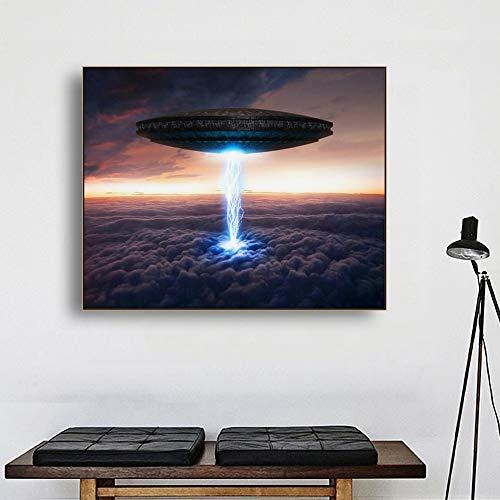 SADHAF Leinwand gedruckt Wandkunst UFO Science-Fiction-Poster und druckt lebende Home Decoration Dekoration Bilder A6 70X100cm