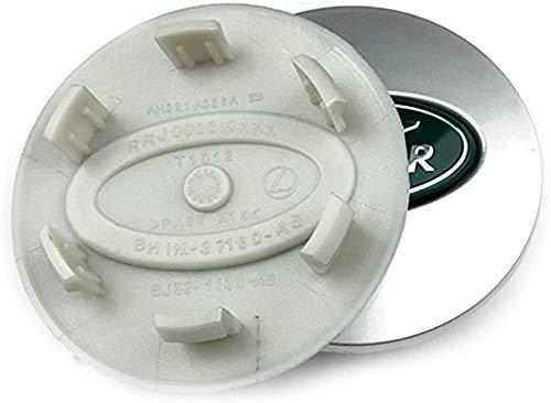 Emblema del logotipo del neumático de la tapa central del cubo de la cubierta del cubo de 4PCS 63mm para el coche modificado de La-nd Ro-v-er, verde plateado