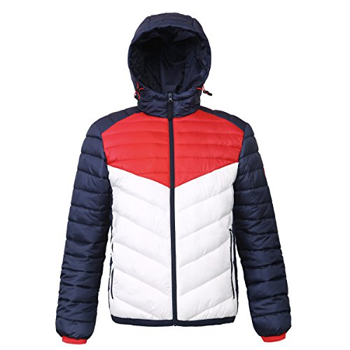 Rokka&Rolla Men's Lightweight Water Resistant Hooded Quilted Poly Padded Puffer Jacket, Night Sky/Bright White/High Risk Red, Medium
