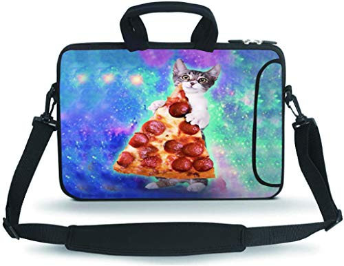 RUYIDAY 11 11.6 12 12.5 13 inches Case Laptop/Chromebook/Ultrabook/MacBook pro air Notebook PC Messenger Bag Tablet Travel Case Neoprene Handle Sleeve with Shoulder(Cat & Pizza)