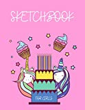 """Unicorn Cupcake Sketchbook For Girls - Age 4-12: Smart Sketchbook To Draw Unicorn Cakes,120 Blank Pages 8.5x11"""" With Premium Cover,The Child Will ... Their Creativity! Perfect Gift For Girls"""