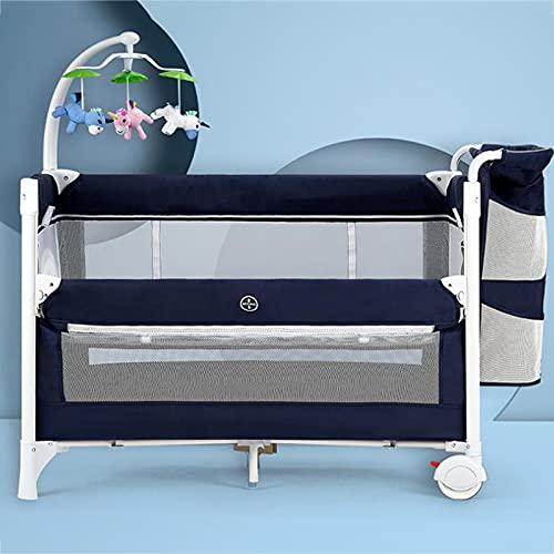 zcyg Cuna de Viaje Cama De Bebé, Funciones Múltiples Portátil Portátil Cuna Cuna Cama Cuna Movible Baby Posituras Cama Grande(Color:Azul)