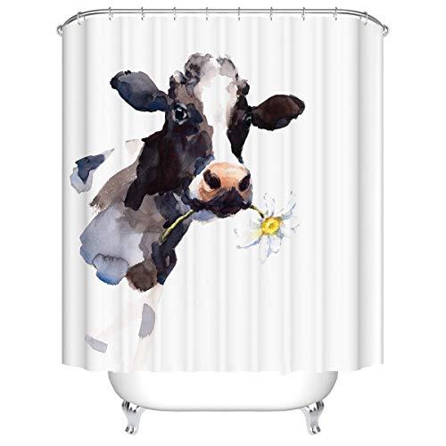 Duschvorhang, Morbuy 3D Digitaldruck Top Qualität Schimmelresistenter & Wasserabweisend Shower Curtain Waschbar Mit 12 Duschvorhangringen 100prozent Polyester (180x200cm,Kuh)