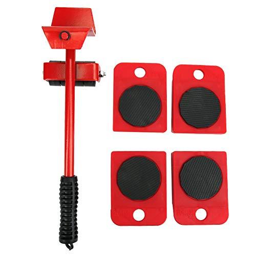 Muebles pesados, herramienta para mover, plástico, hierro, muebles, elevador, diapositivas, tablero móvil, con rodillo de repuesto para cajón, cama, sofá, gabinete (rojo)