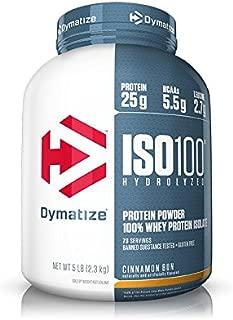 Dymatize ISO 100 Whey Protein Powder with 25g of Hydrolyzed 100% Whey Isolate, Gluten Free, Fast Digesting, Cinnamon Bun, 5 Pound