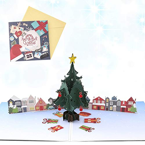Sethexy 3D Christmas Cards Pop-Up Christmas Tree Greeting Cards with Envelopes Romantic Merry Christmas Gifts for Family Best Friend Boyfriend Girlfriend