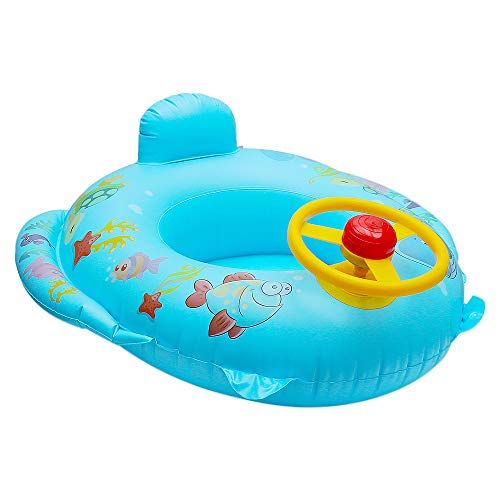 QHYK Baby Schwimmen Trainer Sitz, Aufblasbarer Delphin Schwimmring, Lenkrad Griff, Schwimmen-Spielzeug der Kinder, blau