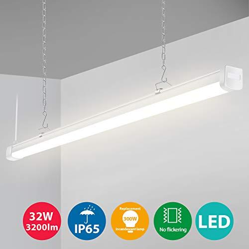 Oeegoo LED Feuchtraumleuchte Hängeleuchte 120cm, 32W 3200Lm Hängelampe LED, IP65 Wasserdichte Pendelleuchte Badlampe Büroleuchte Werkstattlampe Küchenlampe Garage Lampe Neutralweiß 4000K