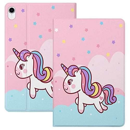 HaoHZ Case for Ipad Air 10.9 Inch 4Th Generation [Support Apple Pencil 2 Charging] Cute Cartoon Case with Trifold Stand, Soft TPU Back Cover Slim Sleeve Shell, Auto Wake/Sleep,Rainbow horse
