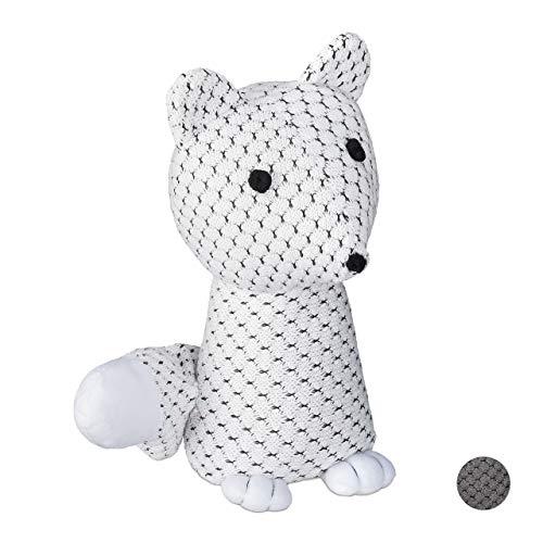 Relaxdays Türstopper Fuchs, dekorativer Türpuffer, für Boden, stehend, gefüllt, innen, 1 kg, Stoff Türsandsack, weiß