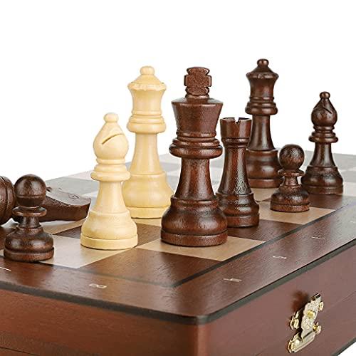 Ajedrez de Gama Alta, Piezas de ajedrez ponderadas no magnéticas, Tablero de ajedrez de Madera Plegable de 15'x15, Regalos para niños, Adultos