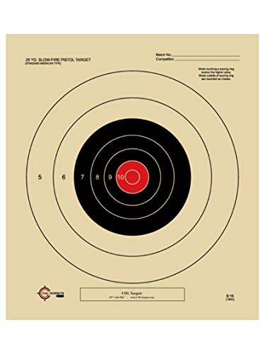 25 Yard Slow Fire Pistol Target Official NRA Target B-16 (Red, 100)
