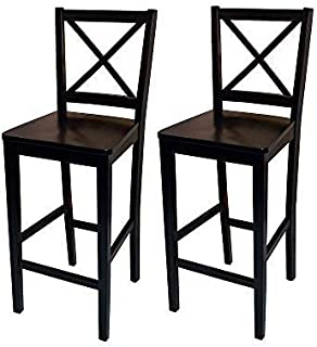 Target Marketing Systems Set of 2 Virginia Cross Back Stools, Set of 2, Black