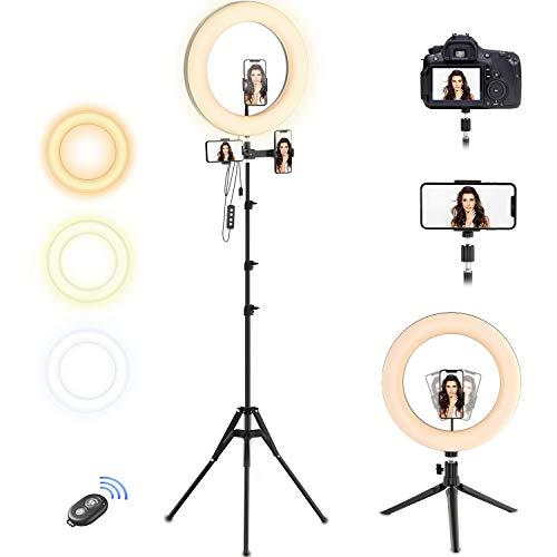 """Selvim Aro de luz 10.2"""" LED 2 Trípodes, Anillo de Luz 2,1m Regulable, 3 Soportes para Móviles, Control Remoto Bluetooth, 128 Bombillas 3 Modos 10 Brillos, para Fotografía Maquillaje Selfie TIK Tok"""