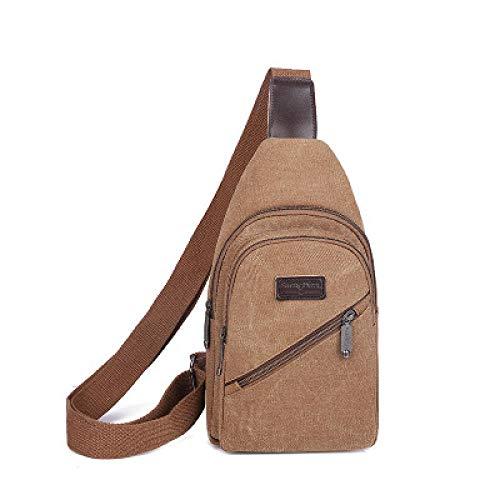 BeniCanvas chest bag men's bag shoulder bag messenger bag casual waist bag-Brown
