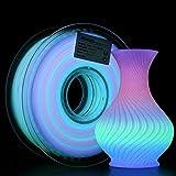 AMOLEN Filamento PLA 1.75mm, Glow in the Dark Multicolore PLA Fliament, Stampante 3D Filamento PLA, 1kg, Cambio di Colore Ogni 10 Metri
