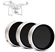 LENSKINS 3 Pack MRC ND4/CPL, ND8/CPL, ND16/CPL Filter for DJI Phantom 4 Pro/Advanced, AGC Optics, Weather-Sealed, Ultra Slim, Multi-Resistant Coated Filter with Lens Cloth