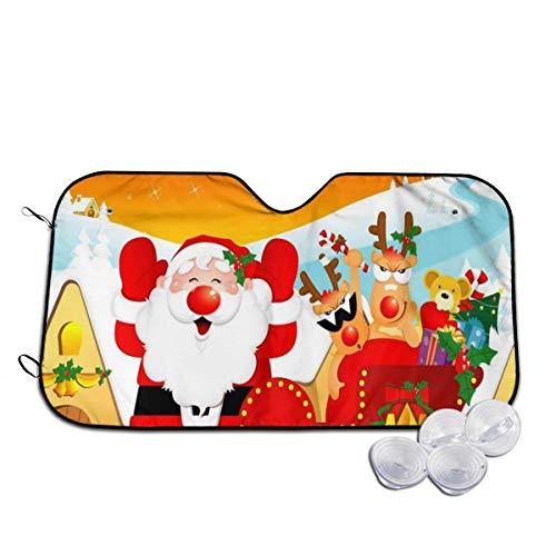 Rterss Windschutzscheibe, Weihnachtsmann Rentier Schlitten, Sonnenblende für die Frontscheibe, Glas, verhindert das Aufwärmen des Autos im Inneren Gr. 85, weiß