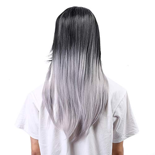 Pelucas largas rectas, peluca sintética ondulada de cosplay, pelucas negras grises de moda de pelo sintético femenino