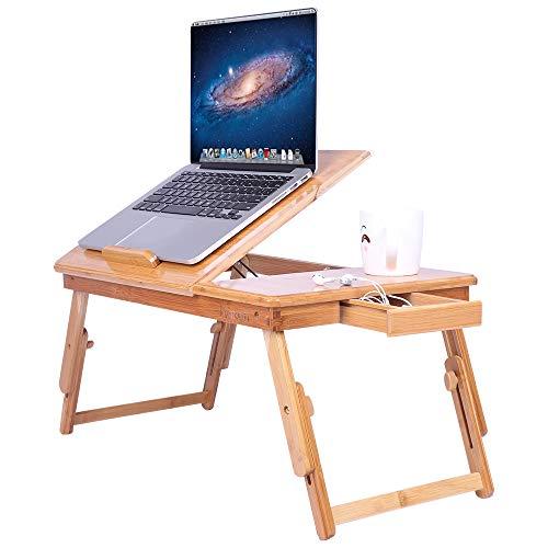 YJZQ - Mesa plegable sobre cama, soporte ajustable para ordenador portátil Lapestop con 4 patas para leer en la cama almuerzo en el sofá, almacenamiento y estante con cajón