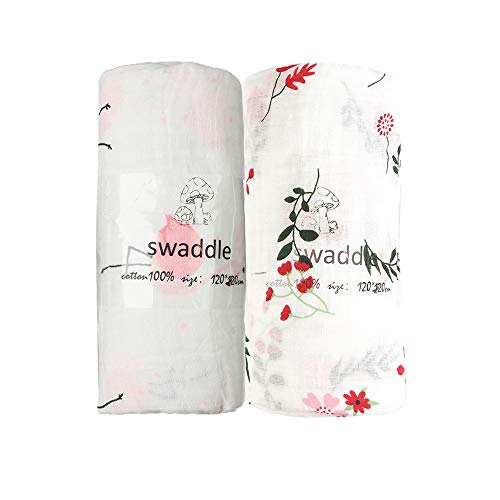 norinori Baby Swaddle Blanket  Muslin Blanket for Toddler/Infant/Girls Newborn Towel Receiving Swaddles 100% Organic Cotton 2Pack Large 47#039#039x47#039#039 Size Excellent Baby Shower/Registry Gift
