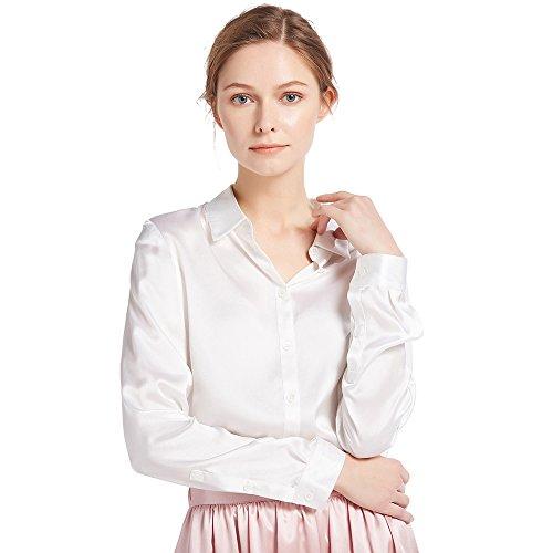 LilySilk Damenbluse Seide Langarm Hemdbluse Oberteil Shirts Damen Kentkragen von 22 Momme (Weiß, L) Verpackung MEHRWEG