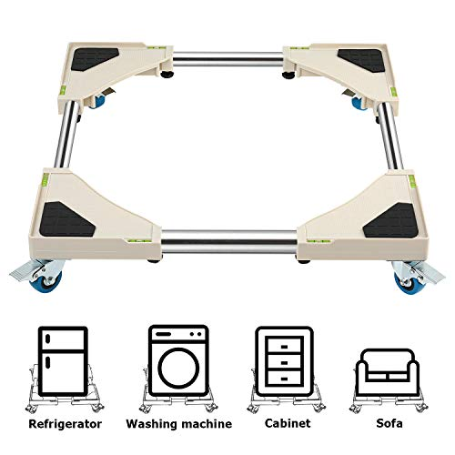 DAILYLIFE Mobile Roller with 4 Locking Wheels - Adjustable Furniture Dolly Washing Machine Stand Refrigerator Base Moving Cart, Square Corner