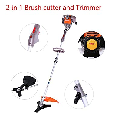 Leoneva 43CC 2 in 1 Electric Brushcutter and Trimmer, 2-Stroke 17 Inch Gas Powered Straight Shaft String Trimmer [US Stock] (Grey+Orange)