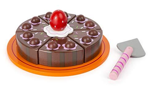 Small Foot- Torta al Cioccolato Tagliare, Legno Certificato FSC 100%, con Chiusure in Velcro, per negozietto/Cucina. Giocattoli, Multicolore, 11064