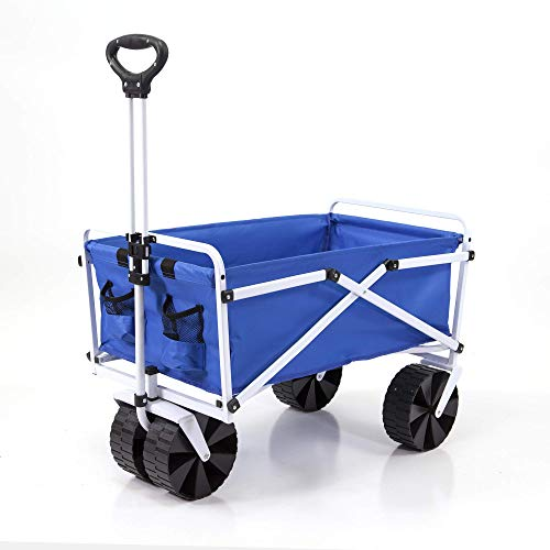 YSC Wagon Garden Folding Utility Shopping Cart,Beach (Large, Royal Blue)