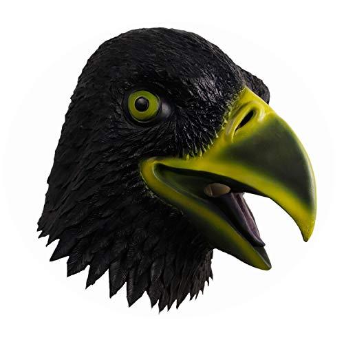 molezu Black Eagle Head Mask, Halloween Costume Party Decorations Birds Hawk Latex Mask