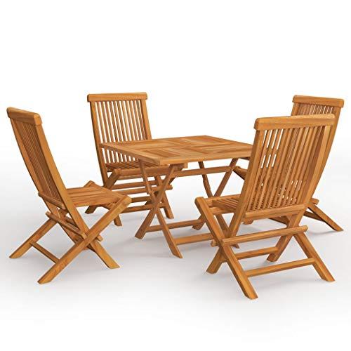 vidaXL Teak Massiv Gartenmöbel Set 5-TLG. Klappbar Gartengarnitur Sitzgruppe Sitzgarnitur Gartenset Gartentisch Gartenstuhl Stühle Tisch