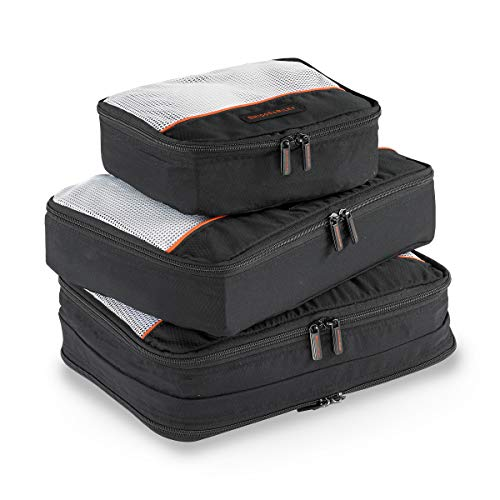 Briggs & Riley 3 Pack Zippered Packing Cubes/Luggage Organizers for Travel, Black