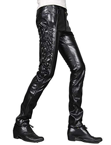 Idopy Men`s Rock Steampunk Lace Up PU Leather Pants Slim Fit (33, 1369 black)