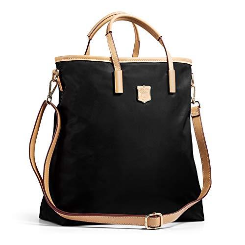 Lecxci Women's Oxford Nylon Large Capacity Tote Bag Top-Handle Satchel Handbags, Multi-pocket Shoulder Travel Bags for Women(Black)