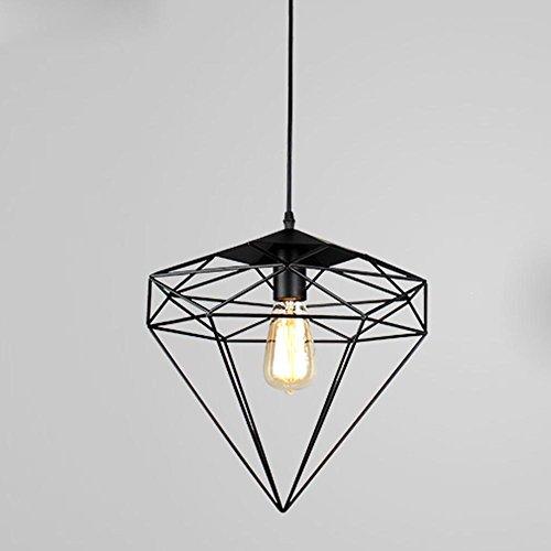 Suspension diamantée industrielle Wind créatif - Personnalité créative - En fer forgé - Tête unique - Pour lustre - Pour restaurant - Élégant - Simple - E27 - 40 W - Diamètre 30 cm
