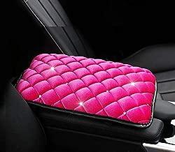 TRUE LINE Automotive Soft Diamond Car Center Console Armrest Elbow Cushion Comfort Pillow Pad (Rose RED)