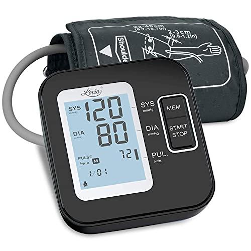 Tensiómetro de Brazo Digital - Tensiometro de Brazo Automatico LCD, Brazalete Grande de 22-42 cm, Detección de Frecuencia Cardíaca Irregular 2 Memorias de Usuario (2 * 120) Recargable Usb