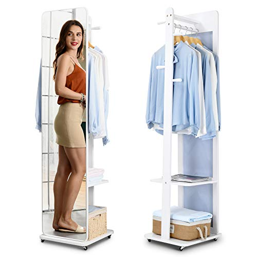 LVSOMT Full Length Mirror with Coat Rack, Free Standing Mirror, Floor Mirror, Clothes Valet Stand, Movable Storage Organizer with Hanging Rod, Hooks, Shelves, Wheels (White)