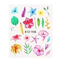 1個の黒い花のネイルアートステッカー花の葉の水の移動デカールスライダーホイル秋のデザインのタトゥーマニキュア (Color : STZ 938)