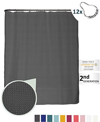 arteneur® - Anthrazit Grau - Premium Duschvorhang 180x200 inkl. 12 Edelstahl-Ringe – Anti-Schimmel Struktur-Stoff, Beschwerter Saum, Blickdicht, Wasserabweisend, Waschbar & inkl. E-Book