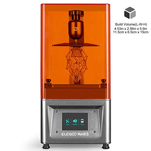 ELEGOO MARS UV Photocuring LCD 3D Printer with 3.5' Smart Touch Color Screen Off-line Print 4.53'(L) x 2.56'(W) x 5.9'(H) Printing Size-Silver