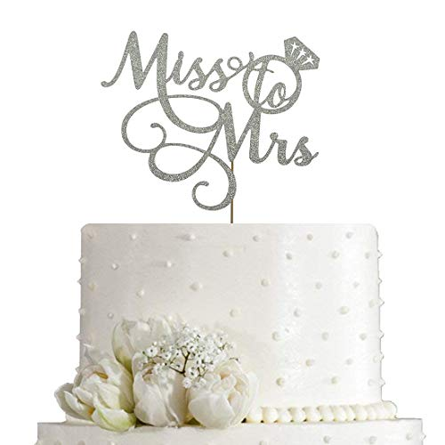 Miss To Mrs Cake Topper - Bridal Shower, Mr and Mrs Wedding / Engagement / Marriage Party Decoration, Double Sided Silver Glitter