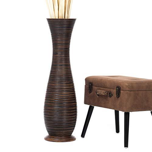 Leewadee Jarrón De Suelo Grande para Ramas Secas Decorativas Florero Alto De Piso Decoración Casa 90 cm, Madera de Mango, marrón