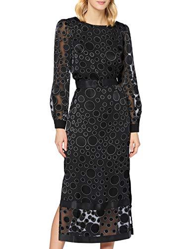 APART Fashion Damen Dots Dress Kleid für besondere Anlässe, Black-Cream, 36