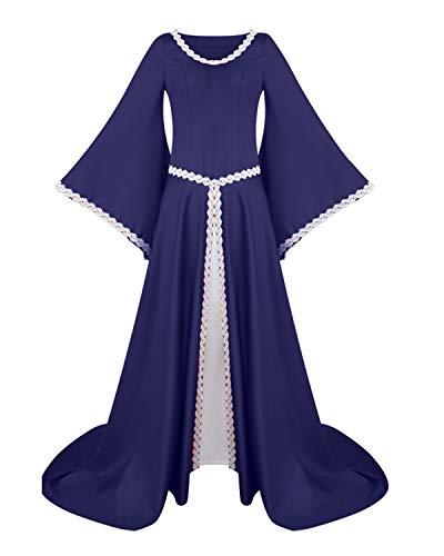 HoneyJuan Halloween Ausgestelltes Langarm-O-Ansatz Maxi Kostüm Halloween Frauen Uniform Festival Scary Kostüm Cosplay Kleidung (Farbe : Marine, Size : 3XL)